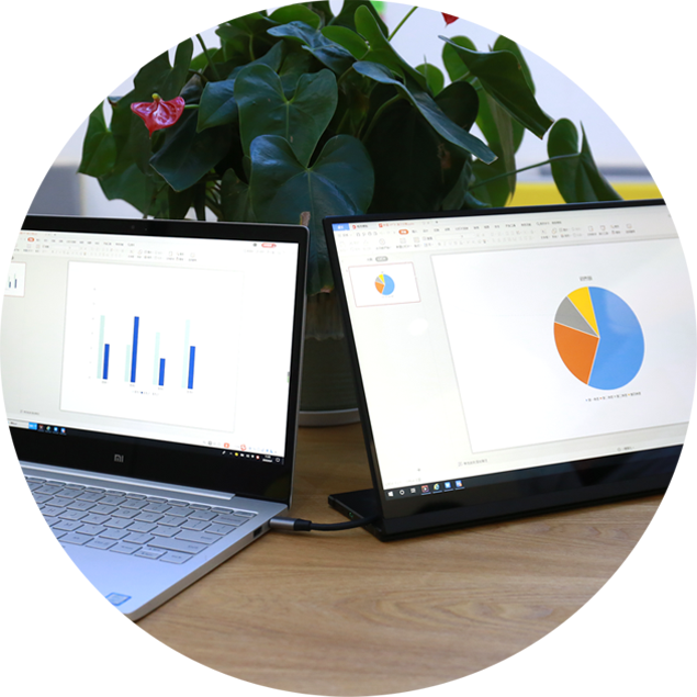 パソコンの画面を同時に映したり、画面の拡張や縦表示も可能です