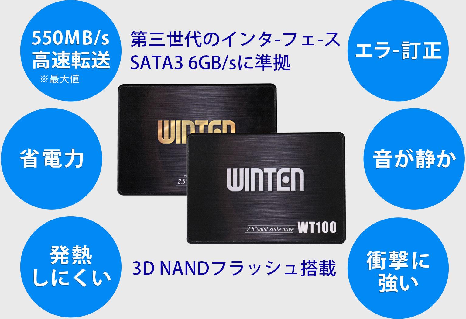 第三世代のインタ-フェ-ス SATA3 6GB/sに準拠 3D NANDフラッシュ搭載